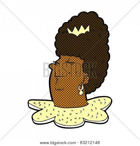 retro comic book style cartoon queen head