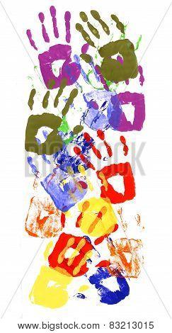 Handprints Multicolor Vertical Border