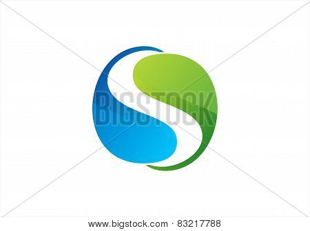 nature circular element water drop plant logo symbol circle infinity icon vector design