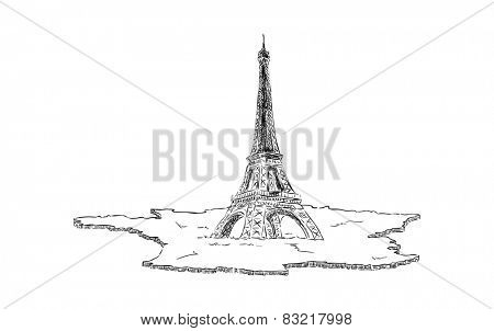vector - Eiffel Tower in Paris  with map France, Europe