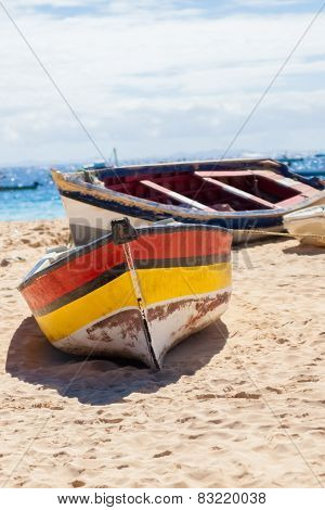 Boat On The Beach At Sunrise Time, Sal - Cape Verde