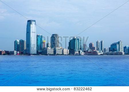 New Jersey skyline from Hudson River NJ NY USA poster