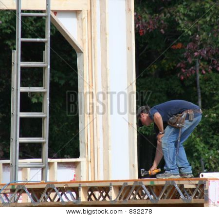 Construction Worker Hammering