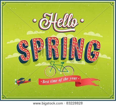 Hello Spring Typographic Design.
