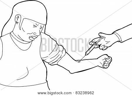 Doctor Injecting Cringing Patient