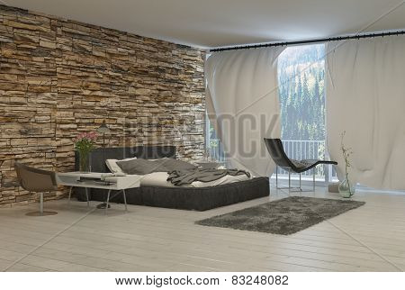 3d Rendering of Bedroom with Modern Furnishings and Exposed Brick Wall and View of Forest from Balcony