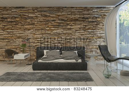 3d Rendering of Bed in Modern Bedroom with Airy Balcony and Exposed Brick Wall