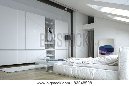 3D Rendering of Close up Fully Furnished Architectural White Bedroom with White Furniture and Wall Cabinets.