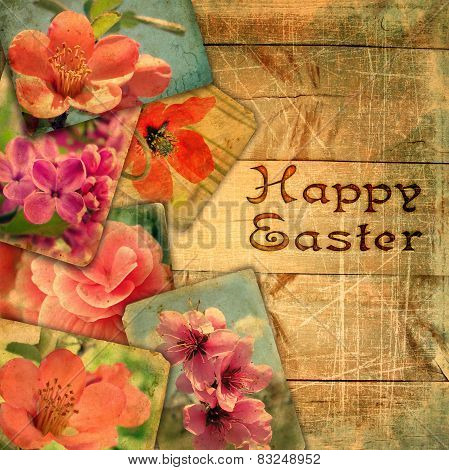 Beautiful Old ?ards On Wooden Planks With Stamping Happy Easter