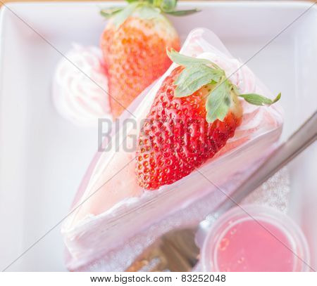 Serving Fresh Strawberry Crepe Cake