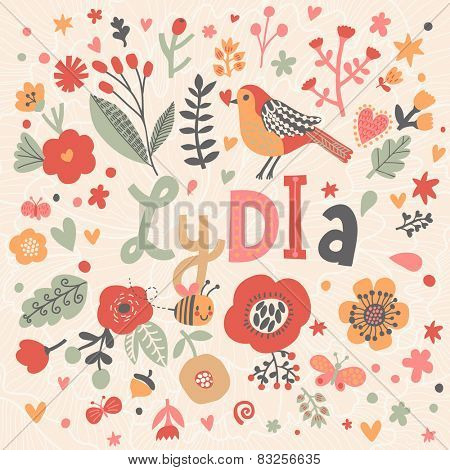 Bright card with beautiful name Lydia in poppy flowers, bees and butterflies. Awesome female name design in bright colors. Tremendous vector background for fabulous designs