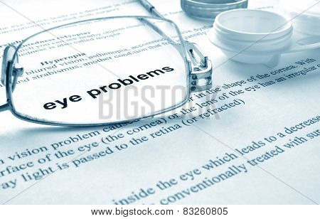 Paper with words eye problems,