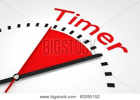 Clock With Red Seconds Hand Area Timer Illustration