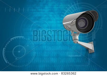 CCTV camera against shiny blue binary code on black background poster