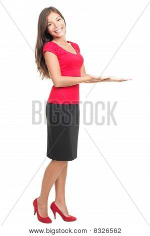 Woman Displaying / Showing Product Copy