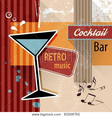 Cocktail lounge bar - retro poster background for party events or drink menu