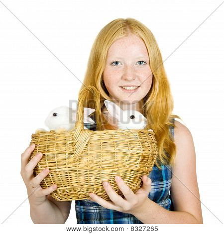girl with pet rabbits isolated on white background poster