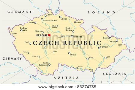 poster of Czech Republic Political Map with capital Prague, national borders, important cities, rivers and lakes. English labeling and scaling. Illustration.