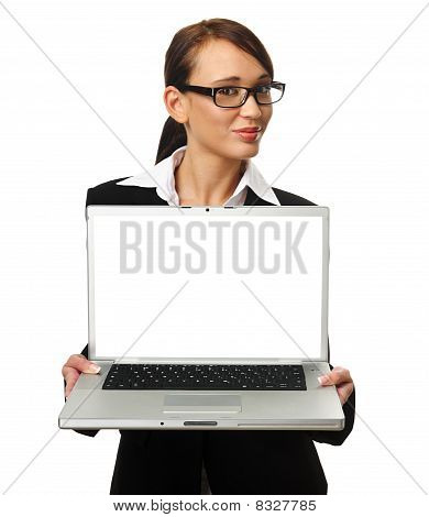 Attractive Brunette Business Woman With Copyspace