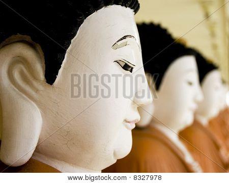 A row of buddhas at Kek Lok Si Temple Penang Malaysia poster