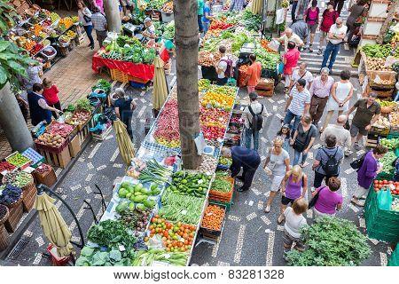 Tourits Visiting The Vegetable Market Mercado Dos Lavradores At Funchal, Madeira Island