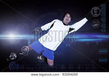 Goal keeper against blue dots on black background