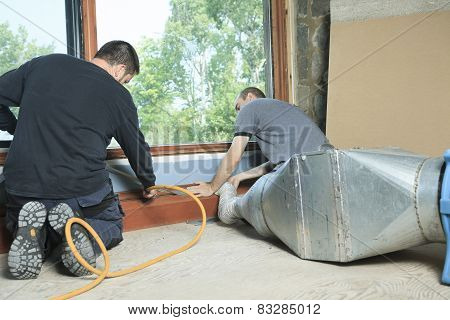 A Ventilation cleaner working on a air system. poster