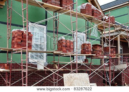 Brick work on a new home
