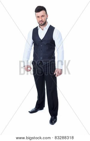 Bar bouncer arm cross over a white background studio