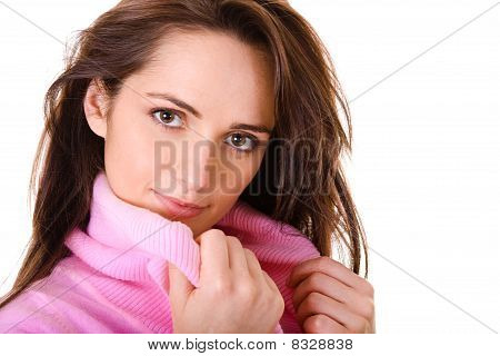 Very Attractive Young Female In Pink Jumper, Isolated On White