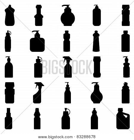 Set Of Silhouettes Of Containers And Bottles Household Chemicals