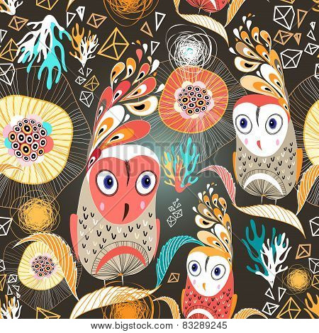 Floral Pattern With Owls