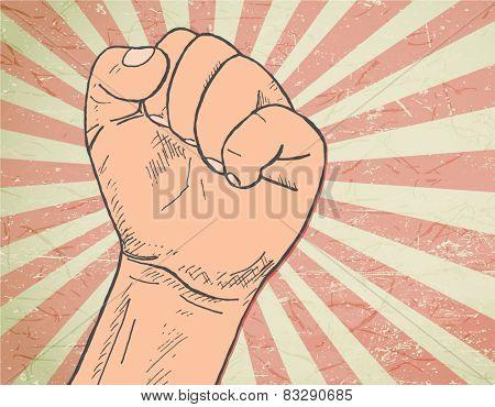 rising fist - hand-drawn illustration