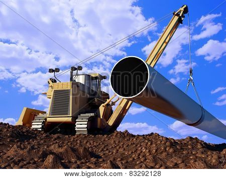 Construction machinery laying pipe in the ground.