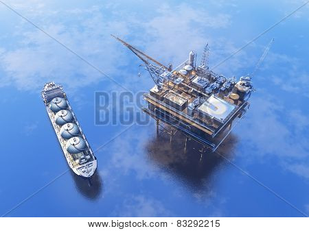 Oil production into the sea from above.