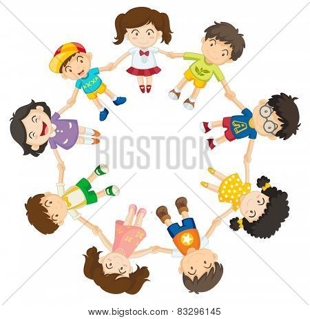 Illustration of many children holding hands in a circle