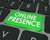 Online Presence words on a computer keyboard key or button to illustrate good website visibility on the Internet through good SEO or search engine optimization poster