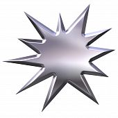 3d silver starburst that is isolated in white poster