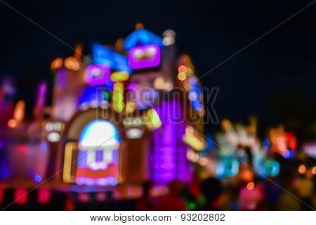 Blur Image Of Amusement Shop For Background Usage.