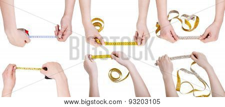 Set Of Female Hands With Measuring Tapes