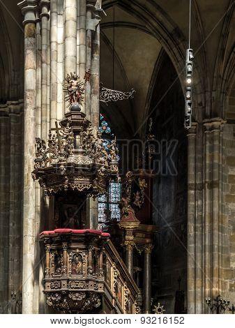 PRAGUE, CZECH REPUBLIC - MAY 2 2015: Ornamental ambo inside historical St Vitus Cathedral, Prague castle, Czech republic