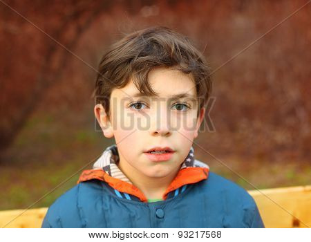 Preteen Handsome Boy Close Up Portrait In The Spring Park