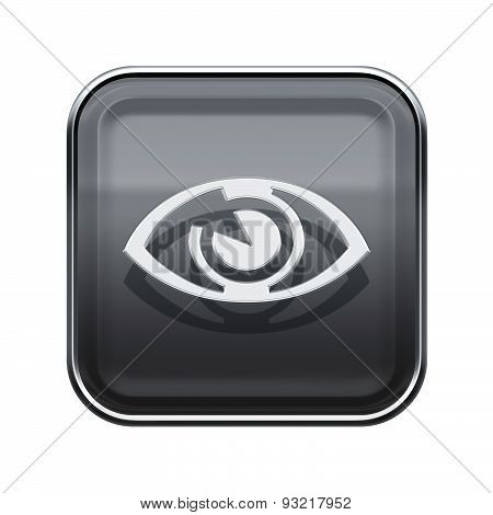 Eye Icon Glossy Grey, Isolated On White Background.