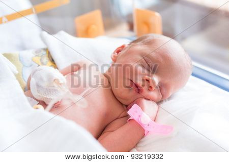 Newborn baby girl in the hospital after c-section