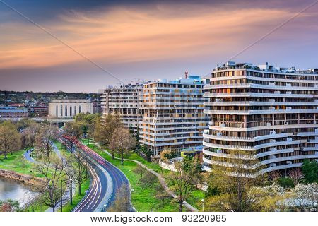 WASHINGTON, D.C. - APRIL 11, 2015: The Watergate Complex in Foggy Bottom. The complex became well known in the wake of the Watergate Scandal which led to President Richard Nixon's resignation in 1974.