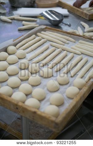 Freshly Made Dough For Rolls Wooden Trays