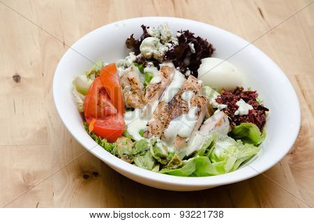 Grilled Chicken Salad With Tomato, Potato, Onion