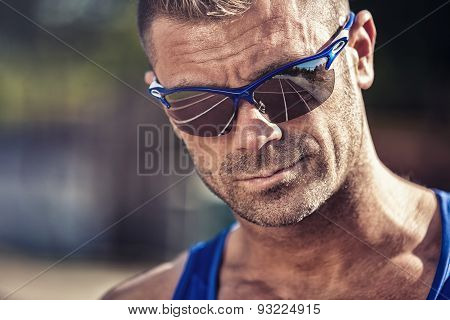 The Track Is Reflected In The Sunglasses