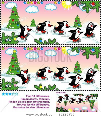 Find the differences visual puzzle - skating penguins