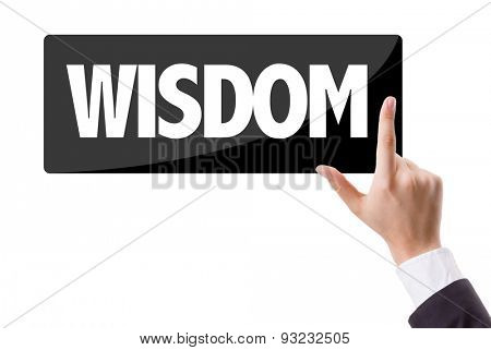 Businessman pressing button with the text: Wisdom